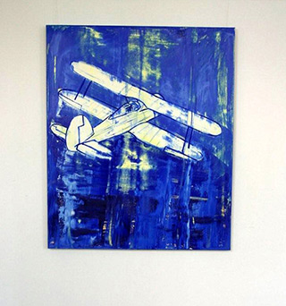 Jacek Łydżba : Blue Plane : Oil on Canvas