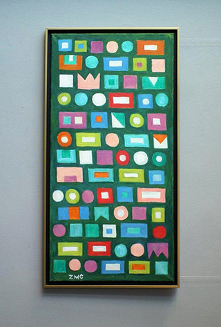 Zofia Matuszczyk-Cygańska : Puzzle on the green : Oil on Canvas