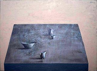 Łukasz Huculak : Four objects on a flat : Oil on Canvas