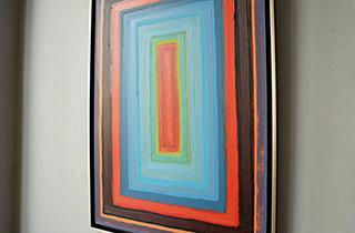 Łukasz Majcherowicz : Pink stripe on a blue background : Oil on Canvas