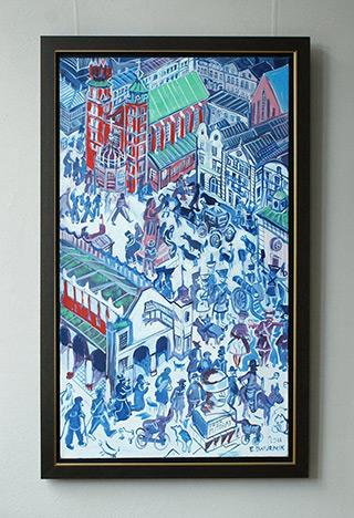 Edward Dwurnik : Blue Krakow : Oil on Canvas