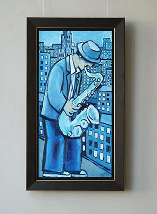 Krzysztof Kokoryn : Blue saxophone : Oil on Canvas