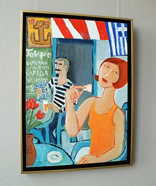 Krzysztof Kokoryn : The Greek cafe : Oil on Canvas