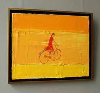 Jacek Łydżba : Cyclist wearing a red dress : Oil on Canvas