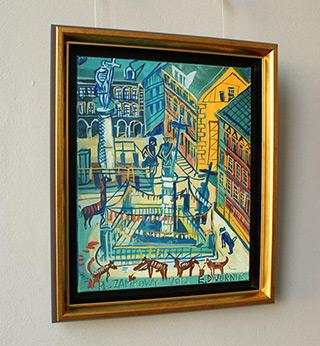Edward Dwurnik : Royal Castle Square and 2 Zygmunt's Column : Oil on Canvas