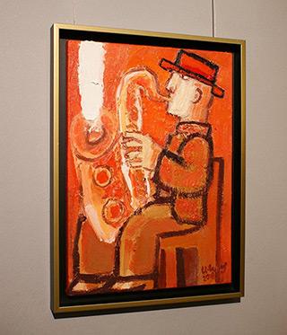 Krzysztof Kokoryn : Saxophone player : Oil on Canvas