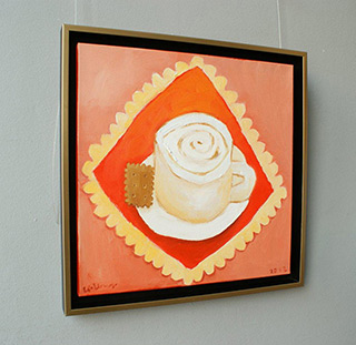 Krzysztof Kokoryn : Cappuccino with cookie : Oil on Canvas