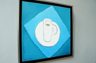 Krzysztof Kokoryn : Cup on a blue background : Oil on Canvas