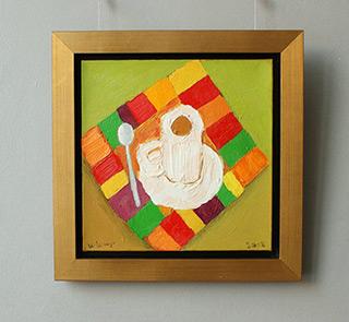 Krzysztof Kokoryn : Cup on a colorful tablecloth : Oil on Canvas