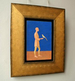 Mikołaj Kasprzyk : Man with parrot : Oil on Canvas
