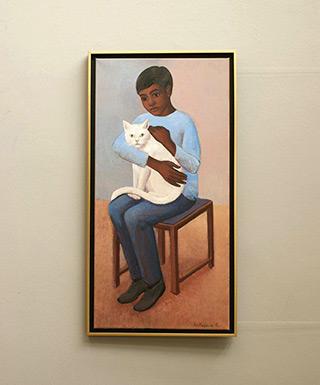Katarzyna Karpowicz : Mohsin with cat : Oil on Canvas