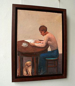 Katarzyna Karpowicz : Reading girl with dog : Oil on Canvas
