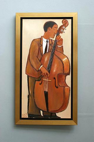 Krzysztof Kokoryn : Bass player : Oil on Canvas