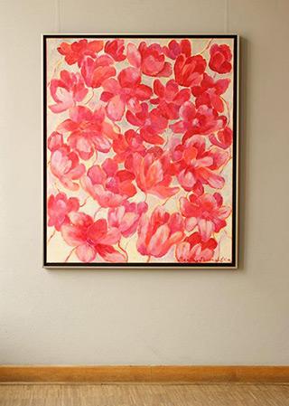 Beata Murawska : Pink flowers on gray : Oil on Canvas