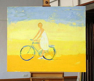 Jacek Łydżba : Bicykle and white dress : Oil on Canvas