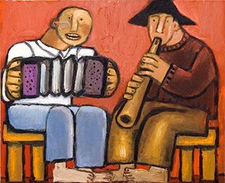 Krzysztof Kokoryn : Folk duo : Oil on Canvas