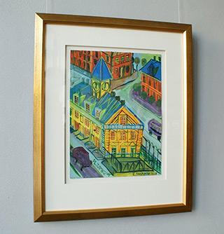 Edward Dwurnik : Yellow building : Tempera on paper