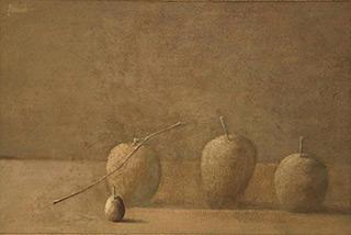 Łukasz Huculak : Apples and plum : Oil on Canvas