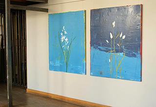 Jacek Łydżba : Anthericum liliago & Eriophorum angustifolium (2 x 100 x 120 centimeters, 2 x 7000 PLN) : Oil on Canvas
