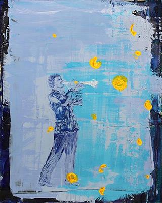 Jacek Łydżba : Blue trumpet player : Oil on Canvas