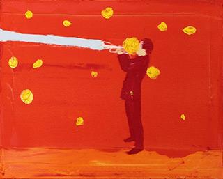 Jacek Łydżba : Red trumpet player : Oil on Canvas