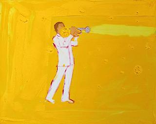 Jacek Łydżba : Yellow trumpet player : Oil on Canvas