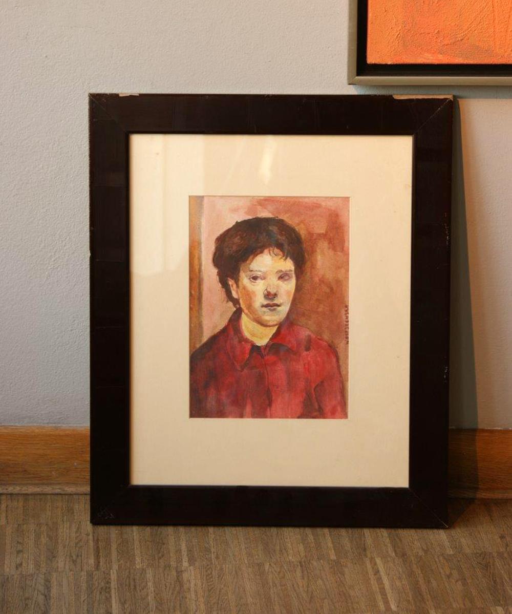 Aleksandra Waliszewska : Self-portrait in red shirt