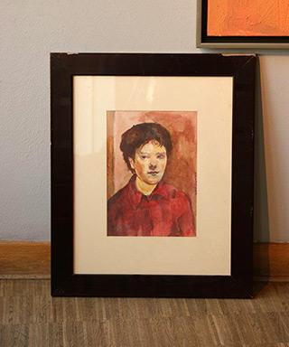 Aleksandra Waliszewska : Self-portrait in red shirt : Guache on paper