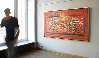 Darek Pala : Red aquarium : Oil on Canvas