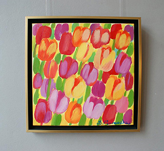Beata Murawska : Yellowish - red tulips : Oil on Canvas