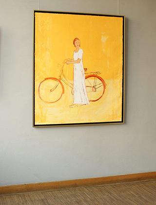 Jacek Łydżba : Cyclist in yellows : Oil on Canvas