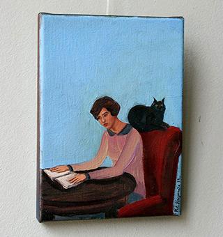 Katarzyna Karpowicz : Wise cat : Oil on Canvas