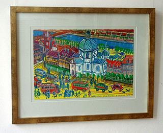 Edward Dwurnik : New city square : Watercolour on Paper