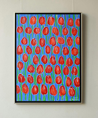 Edward Dwurnik : Red tulips on a cobalt background : Oil on Canvas