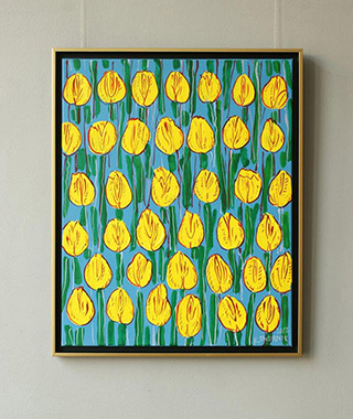 Edward Dwurnik : Yellow tulips on a green background : Oil on Canvas