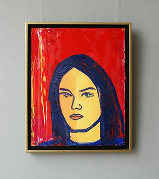 Jacek Łydżba : Brunette on a red background : Oil on Canvas