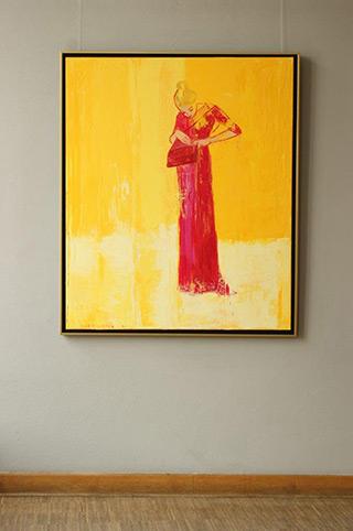 Jacek Łydżba : Lady with a bag (in red dress) : Oil on Canvas