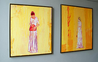 Jacek Łydżba : Lady with a bag (in white dress) & Lady and the flame : Oil on Canvas