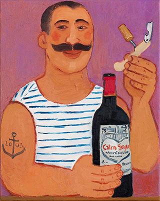 Krzysztof Kokoryn : Sailor uncorking wine : Oil on Canvas
