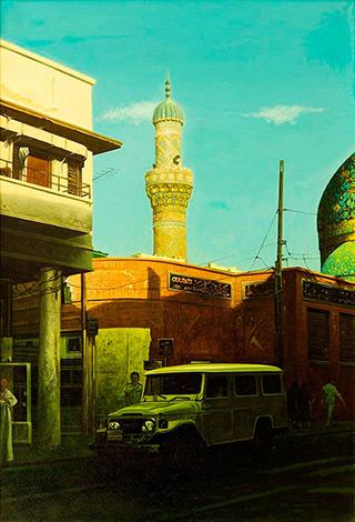 Andrzej Sadowski : Baghdad, mosque on the street Al Rashid 1988 : Acrylic on canvas