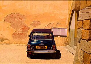 Andrzej Sadowski : Carpentras, blue Mini and the study of pink wall 2007 : Acrylic on canvas