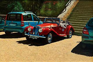 Andrzej Sadowski : Sicily, Villa del Casale MG car rally 2011 : Acrylic on canvas