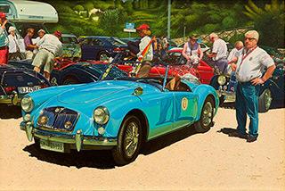 Andrzej Sadowski : Sicily, Villa del Casale MG car rally 2012 : Acrylic on canvas