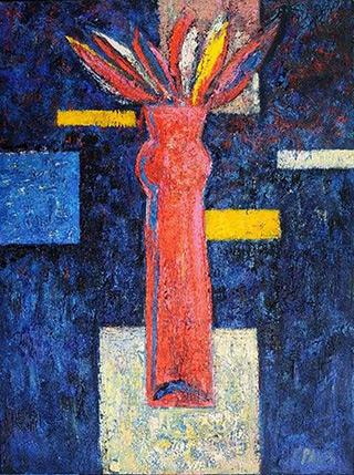 Darek Pala : Red Vase : Oil on Canvas