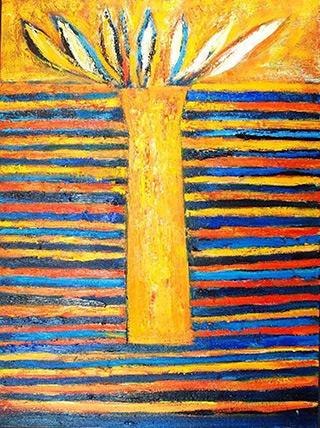 Darek Pala : Vase Striped : Oil on Canvas