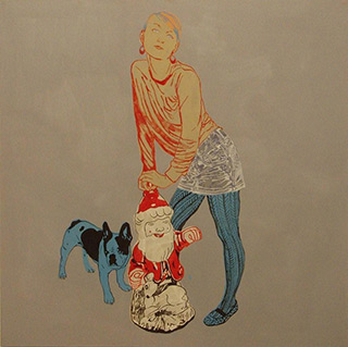 Agnieszka Sandomierz : Girl with Gnome : Tempera on Canvas