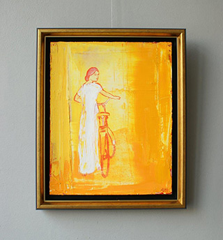 Jacek Łydżba : Lady with bicykle : Oil on Canvas