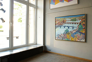 Edward Dwurnik : Prague bridges : Oil on Canvas
