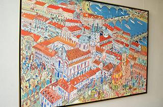 Edward Dwurnik : Prague : Oil on Canvas