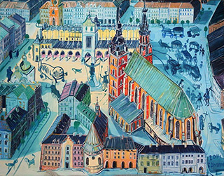 Edward Dwurnik : Cracow - Old town square : Oil on Canvas